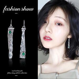 Fashion-Thai-925-Silver-Emerald-Handmade-Hook-Asymmetry-Dangle-Earrings-Gift-New