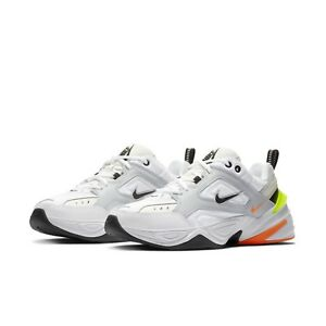 99c9bb81be3 Nike Mens M2K Tekno Pure Platinum Black Sail White Orange Dad Shoes ...