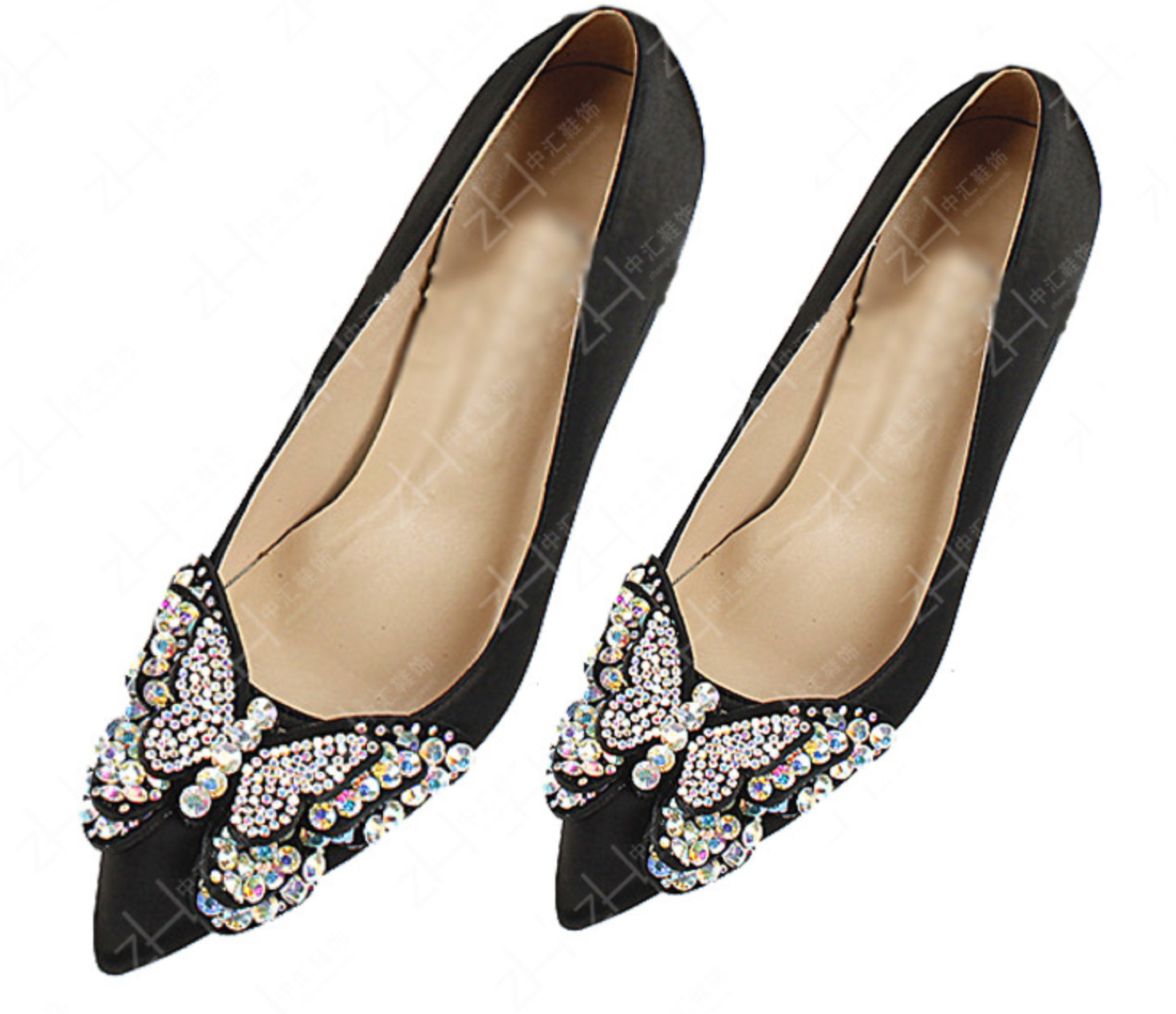 A Pair Retro Style Black Butterfly Crystal Bow High Heel Applique Shoe Clips