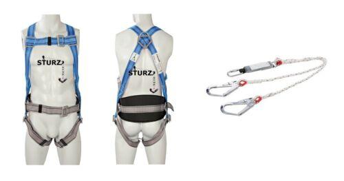Falldämpfer mit Doppelhaken Fallschutz Höhensicherung 3P Sicherheitsgurt inkl
