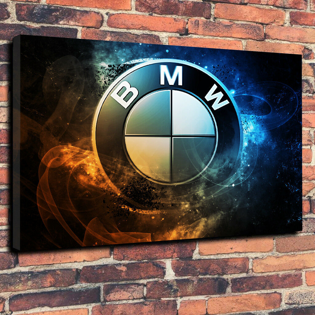 BMW Logo Abstract Printed Canvas Picture Multiple Größes 30mm Deep Mancave Car