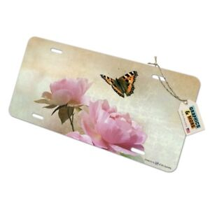 Pink-Roses-and-Butterly-Novelty-Metal-Vanity-Tag-License-Plate