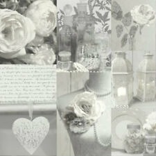 Vintage Shabby Chic Rose Lace Charlotte Wallpaper Grey 665202 Free Delivery
