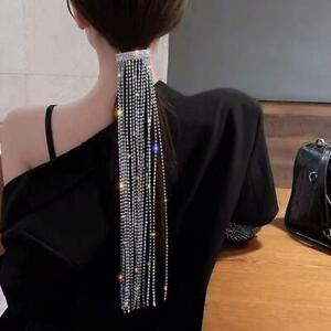 Full Rhinestone Hairpins Long Tassel Crystal Hair Accessories Wedding Jewelry