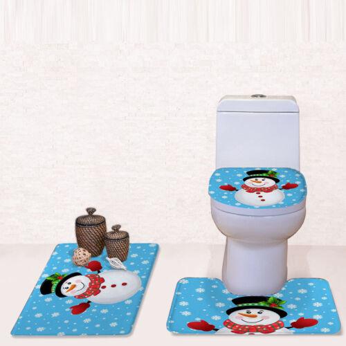 US Christmas Snowman Bath Mat Carpet Pedestal Rug Lid Toilet Seat Cover Cushion