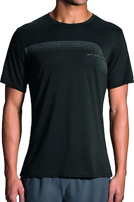 Brooks Track Short Sleeve Mens Running Top - Black Ausgereifte Technologien