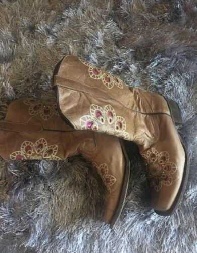 Cowboy Cowgirl Leather Tan Pink Boots Sz 10