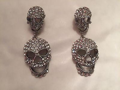 Butler and Wilson Aqua Crystal Skull Cross Earrings NEW