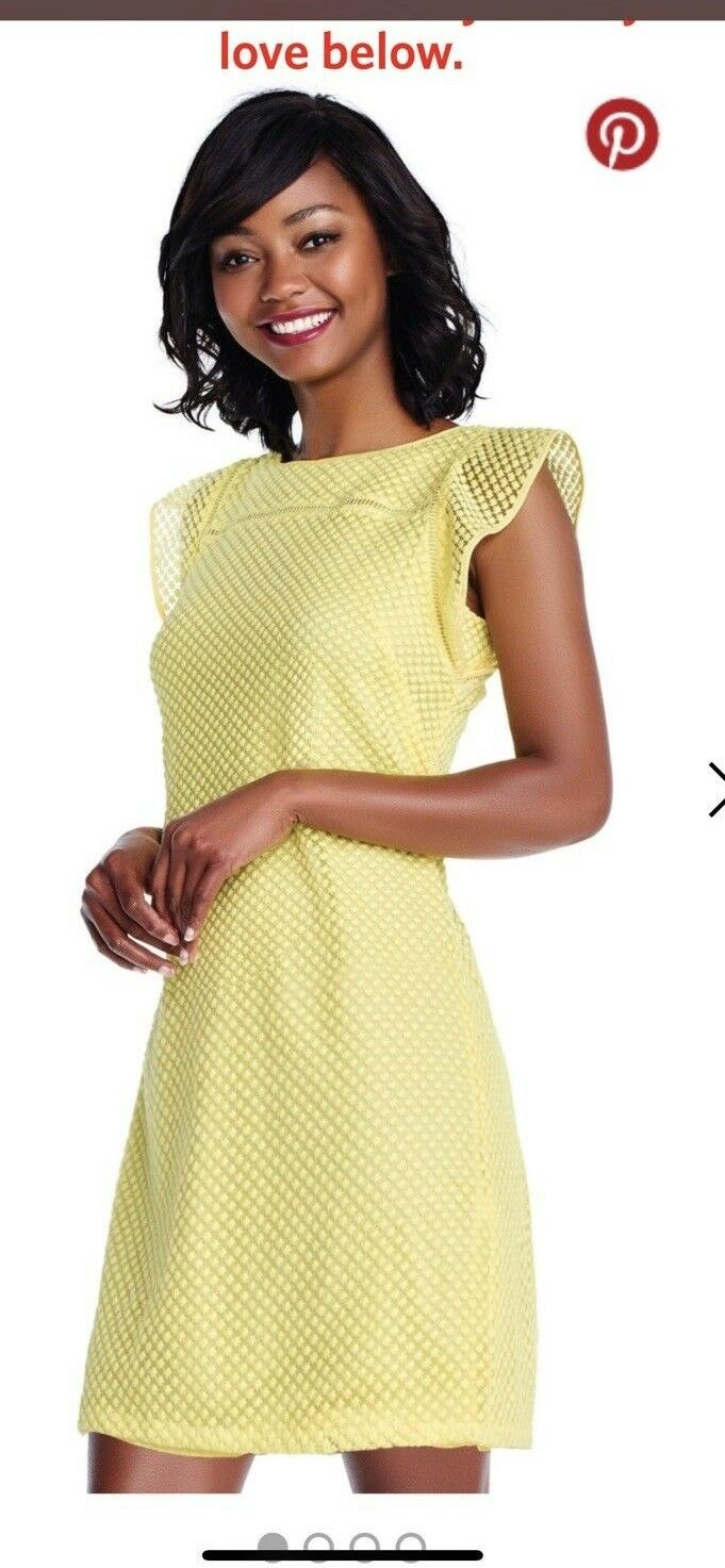 ADRIANNA PAPELL DRESS LIMELIGHT SIZE 12 RETAIL 149 LENGTH 38  YELLOW NEW