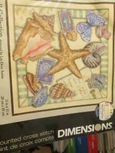 Shell-Collection-Cross-Stitch-KIT-11x11-034-28x28cm-Dimensions-35242-Starfish-Butt