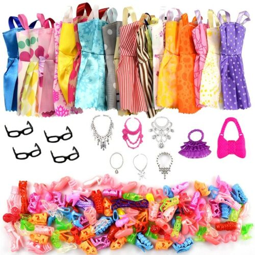 32 Pack Barbie Doll Clothes Party Gown Outfits Shoes Glasses Necklaces for Girls
