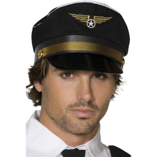 Men/'s Black 1980/'s 90/'s Airline Captain Pilot Fancy Dress Part Hat Stag Theme Do