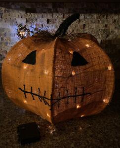 Pottery Barn Burlap Rustic Halloween Jack O Lantern Smiling Pumpkin With Lights Ebay