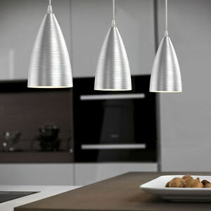 Lampadario sospensione 3 luci alluminio spazzolato camera for Luci cucina design