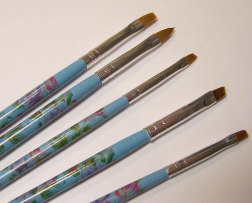 Decoupage 5pc Small Detail Nylon Paint Brush Set for Acrylic Nail Art Glazes