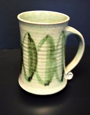 Handmade Art Pottery Stoneware Coffee Cup Mug Green Leaves Marked Scroll Handle