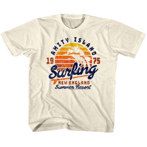 Jaws Shark Amity Island Kids T Shirt Surfing Summer Resort New England Boy Girl