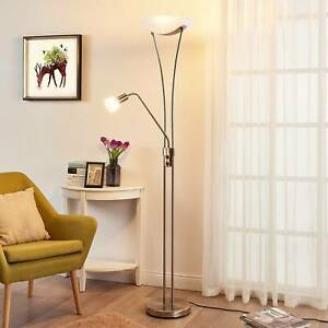 LED-Deckenfluter Felicia Nickel Leselampe Lampenwelt Easydim Dimmbar Wohnzimmer