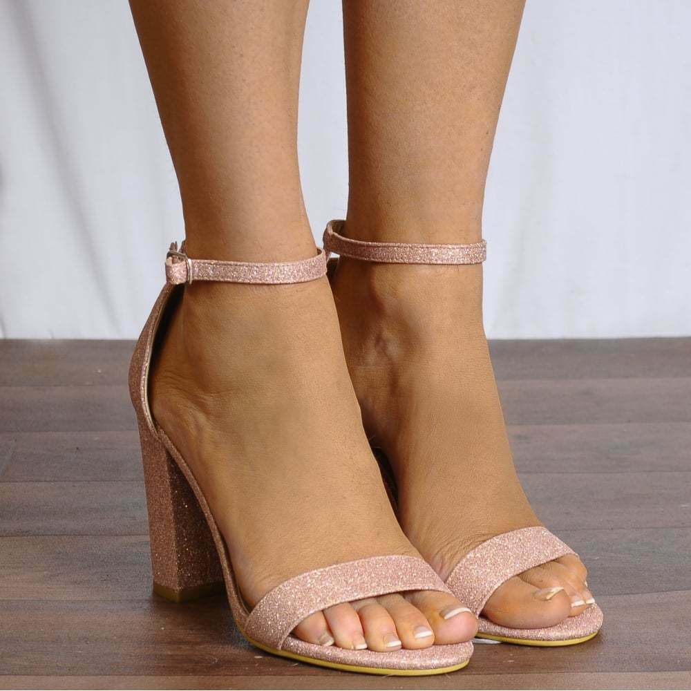 BLUSH PINK GLITTER ANKLE STRAP STRAPPY SANDALS PEEP TOES HIGH HEELS SHOES