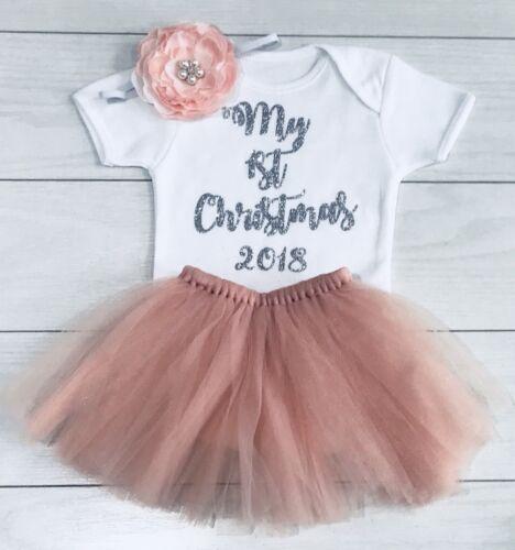 Luxury Girls My First 1st Christmas Blush Tutu Skirt Outfit Vest Vintage 2019