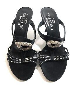 Rare-Valentino-Garavani-Women-Black-Leather-Snake-Stud-Heels-Sandals-Shoes-37-5