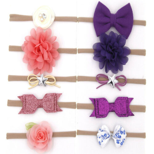 Toddler Baby Headband Kids Floral Cloth Bowknot Cute Hair Accessories