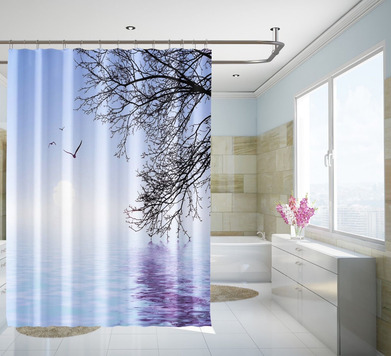3D Vogel See Baum 72 Duschvorhang Wasserdicht Faser Bad Daheim Windows Toilette | Lass unsere Waren in die Welt gehen