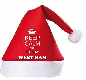 Keep Calm And Follow West Ham Christmas Hat.Secret Santa Gift