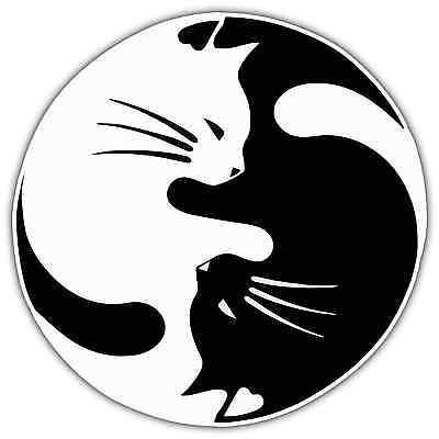 "Yin and Yang Cat Pet Lover Car Bumper Window Vinyl Sticker Decal 4.6""X4.6"""