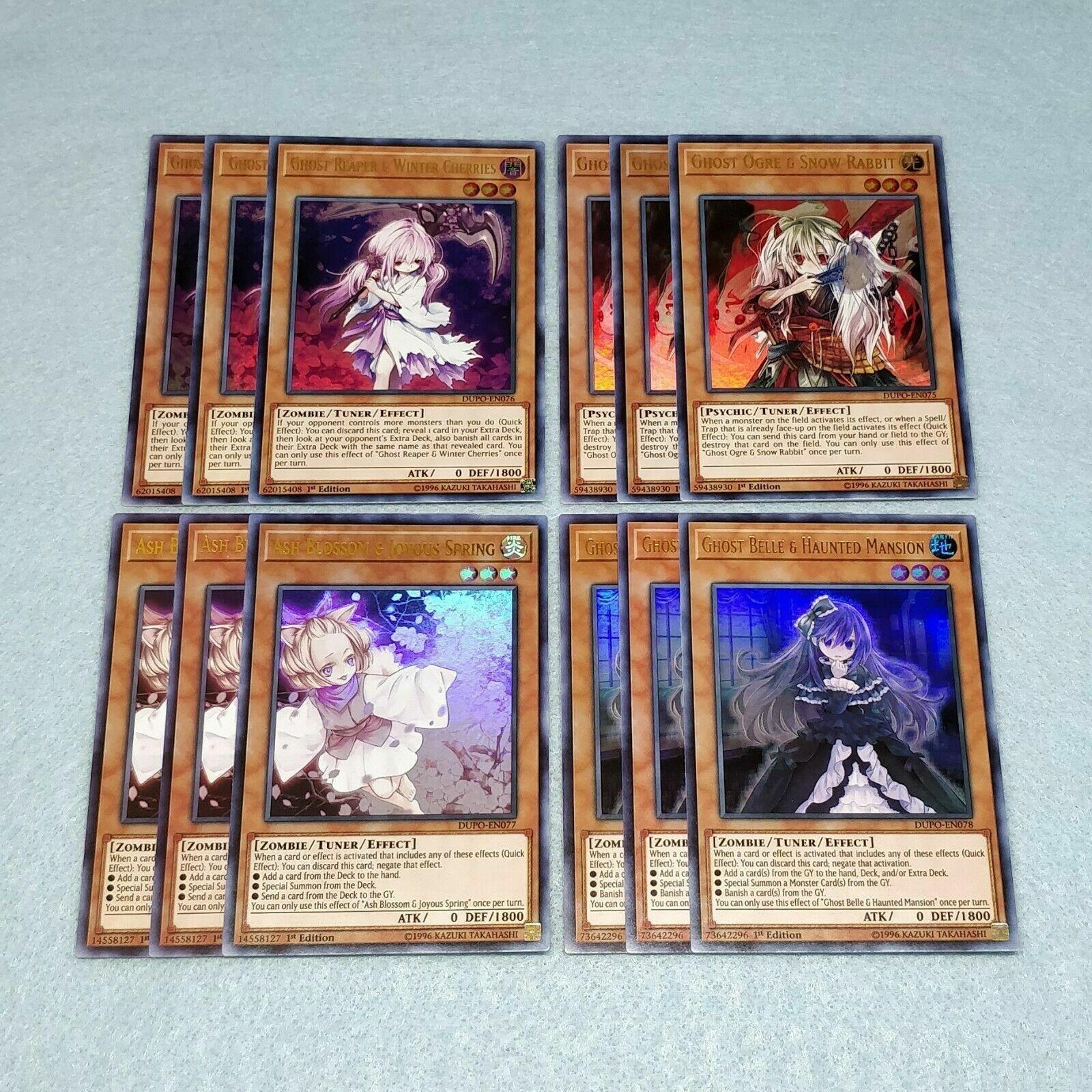 Yu-Gi-Oh 3x Ash Blossom Joyous Spring Ghost Ogre Belle Reaper DUPO + Extra Bonus