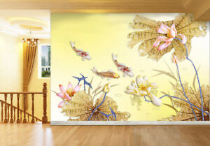 Details About 3d Lotus Koi Fish 97 Wallpaper Mural Wall Print Wall Wallpaper Murals Us Carly