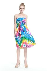 Details about Hawaiian Luau Dress Cruise Short Tube Elastic Plus Size Tie  Rainbow Floral
