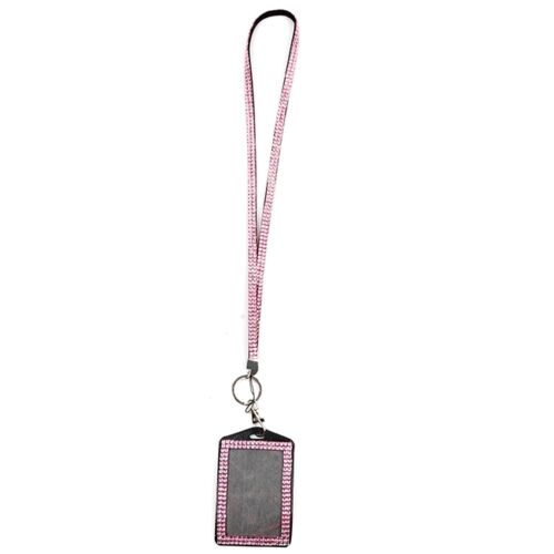 Glitter Rhinestone Hang Lanyard ID Badge Holder For Photo ID Card RF