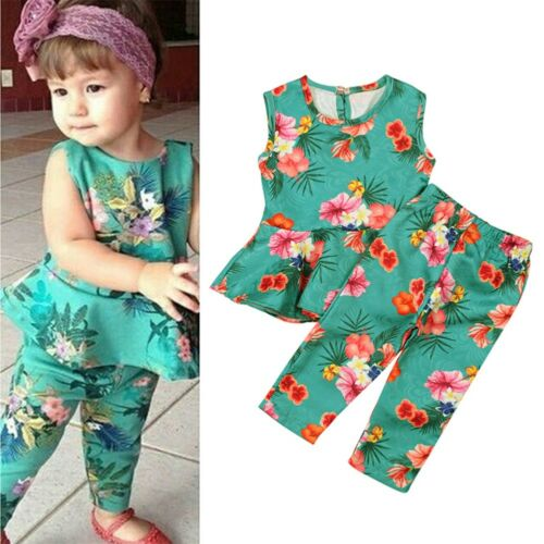 Fashion Toddler Kid Baby Girl T-shirt Tops Floral Pants 2pcs Set Outfit Clothes