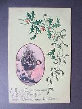 Antique Postcard CHRISTMAS Greetings Children Christmas Tree & Rocking Horse