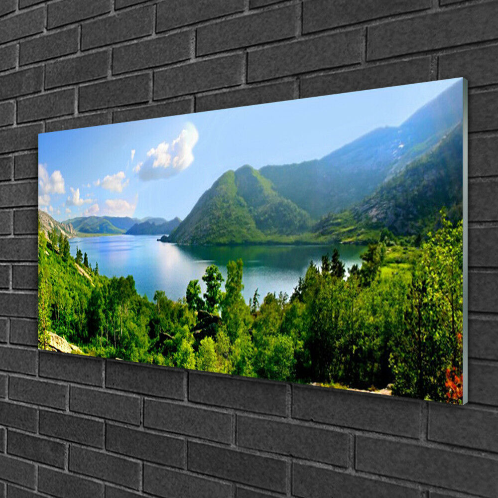 Glass print Wall art 100x50 Image Picture Forest Lake Mountains Landscape