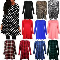 New Ladies Women's Printed Long Sleeve Swing Skater Dress Plus Size 8-26 Tartan