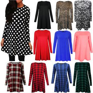 PAPAVAL WSD Ladies Womens Tartan printed Long Sleeve Swing Skater Dress