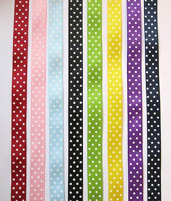 5 Mtrs Polka Dot Grosgrain Ribbon Various Colours 15mm