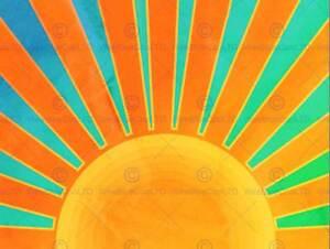 PAINTING-ABSTRACT-SUNRISE-SUN-RAYS-ORANGE-BLUE-SPOKES-POSTER-PRINT-BMP11341