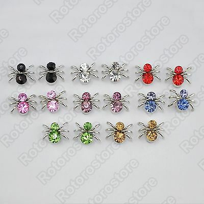 Silver Spider Crystal Magnet Stud Earrings - Magnetic Mens Womens Fashion - NEW