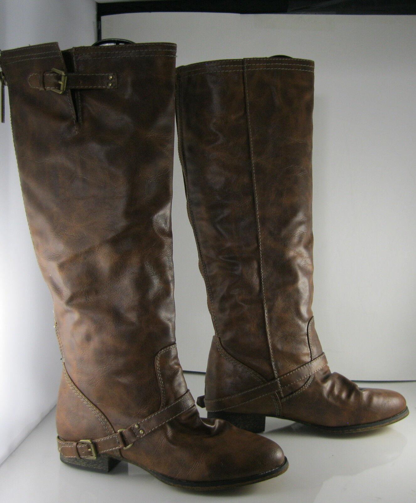 Breckelles new ladies  Brown 1 block Heel Back Zip Sexy Knee Boots Size 6