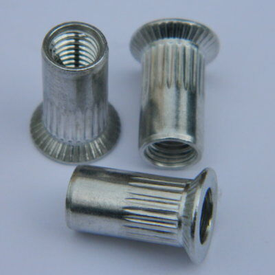 gerändelt 1,7-4mm Nietmuttern Edelstahl A2 Blindnietmuttern M5 Senkkopf 50 Stk
