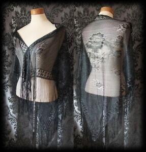 Goth-Stunning-Delicate-Black-Lace-Rose-VICTORIAN-STEAMPUNK-Cape-Shrug-Shawl