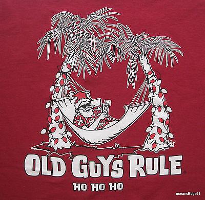 Christmas Santa Tee Shirt,Old Guys Rule,Medium,Red,Holiday,Collectible Ho Ho Ho!