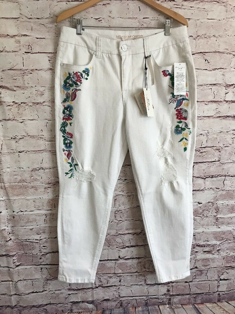 Melissa McCarthy Pencil Jeans Womens 16 White Embroidered Distressed Ankle C30