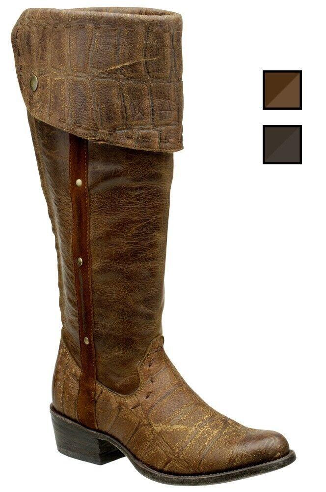 Señora botas vaqueras botas de vaquero pardo cuadra (hecha a mano) 1x02vk