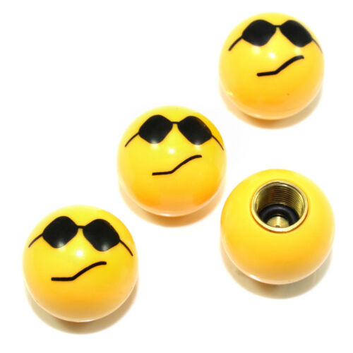 4 Custom Yellow Cool Smile Face Air Wheel Tire Valve Caps for Auto-Car-Truck