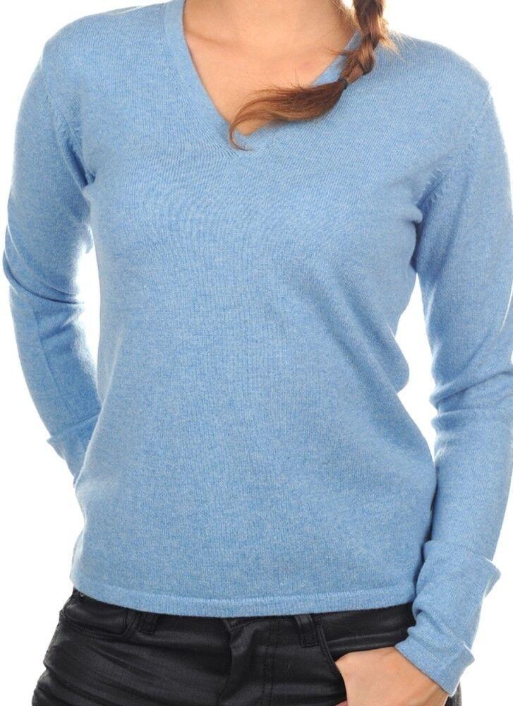 Balldiri 100% Cashmere Damen Pullover 2-fädig V-Ausschnitt azurblau meliert M