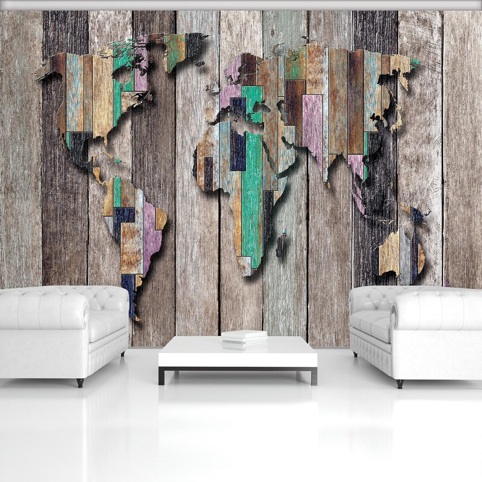 Photo Wallpaper Mural Non-woven 20271_VEN World Map on Colourful Boards Map Cont